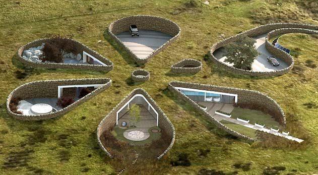 Слияние жилища и природы. Подземный дом в виде цветка